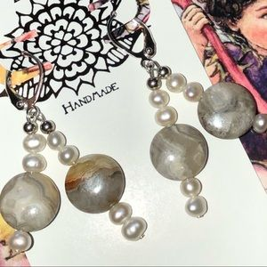 Casey Keith Design Jewelry - Pearled Laguna Agate Earrings
